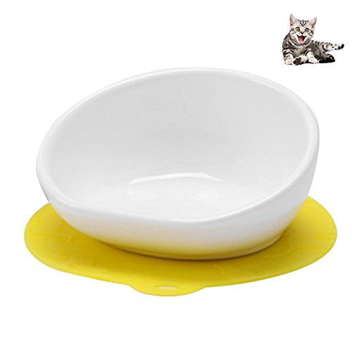 Petacc Ceramic Cat Bowl Tilted Pet Bowls Pet Water Bowl With Anti Slip Pad White And Yellow Many Thanks For Having Viewe Pet Water Bowl Pet Bowls Cat Bowls