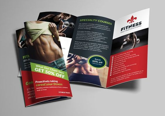 Sport Fitness Trifold Brochure @creativework247 Brochure Design - Fitness Brochure Template