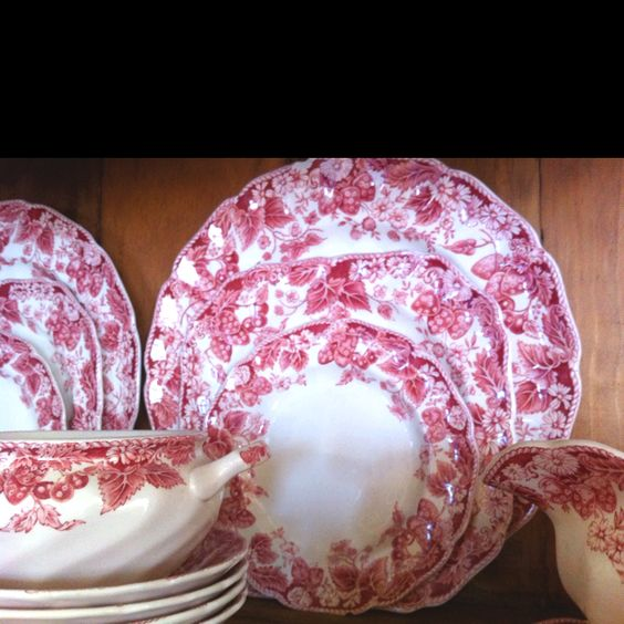 Strawberry Fields antique dishes by Johnson Bros.