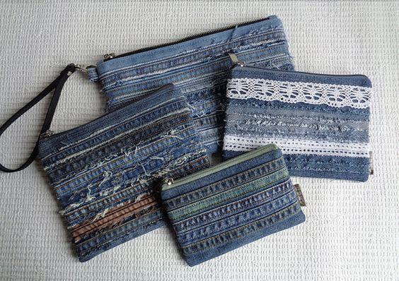 Denim makeup bags pouches Rock Grunge Distressed por BukiBuki
