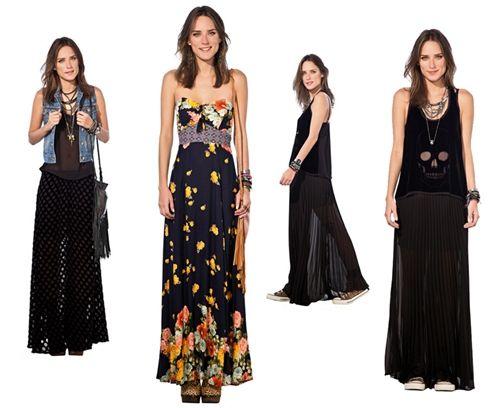 As saias e vestidos longos continuam em alta neste verão. O estilo pode ser adotado por mulheres altas ou mais baixinhas, em modelos estampados ou lisos. Você pode criar combinações com jaquetinhas, cintos ou blusinhas básicas, que fica sempre um arraso.