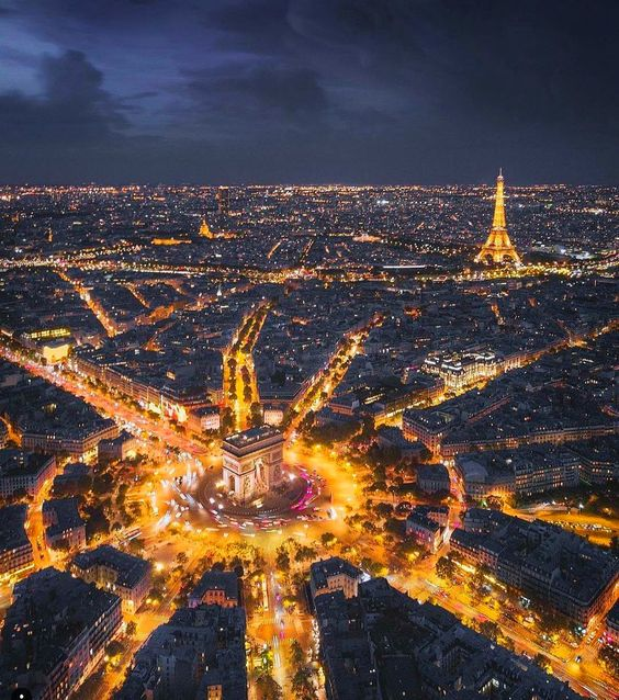 Paris at night, France. Aerial photography