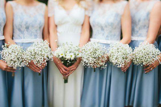 Kelsea Rose Cornflower Blue Bridesmaid Dresses Gypsophila Baby Breath Bouquets Flowers Relaxed Stylish Cornflower Blue Seaside Wedding http://fraserstewartphotography.co.uk/