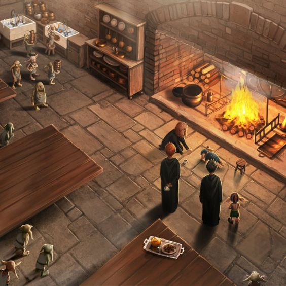 Dobby and Winky in the Hogwarts kitchens with the other elves.: