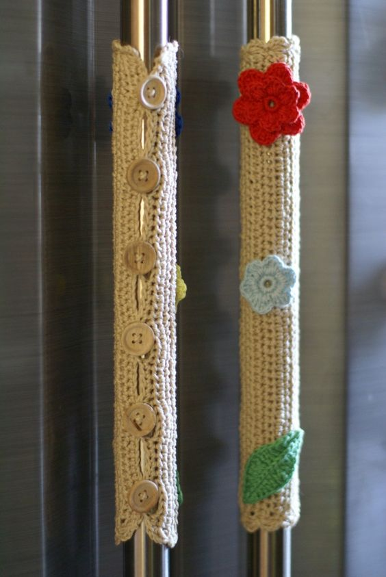 Set Of Five Crocheted Magnets And Refrigerator Or Stove