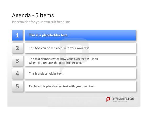Professional PowerPoint Agenda Template 5 items for your Agenda - professional agendas