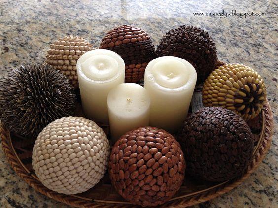 Esferas de café y otras semillas
