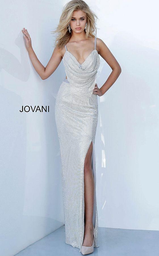 Fully Beaded Cowl Neck Prom Dress Jovani Prom2020 Prom Dresses Jovani Prom Dresses Prom Dresses Gowns
