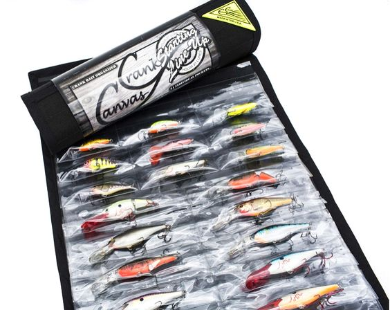 Crank canvas crankbait organizer fishing lure tackle for Fishing tackle storage