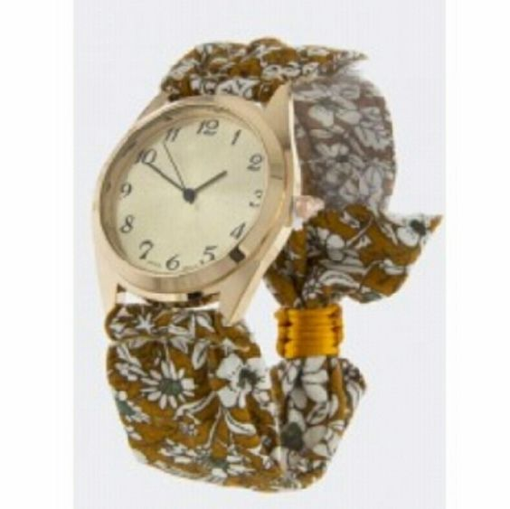 "Designer Floral Design Adjustable Fabric Watch Approx. 2.5"" diameter  Approx. 1.5"" diameter watch case  Adjustable strap Accessories Watches"