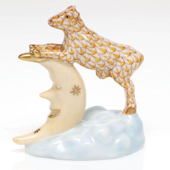"Herend Hand Painted Porcelain Figurine ""The Cow Jumped Over The Moon"" Butterscotch Fishnet Gold Accents."