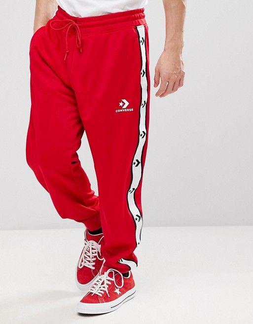 sombras de gran selección moda caliente Converse Star Chevron Track Joggers In Red 10007592-A03