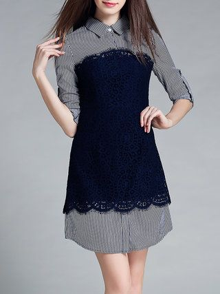 Blue Paneled Stripes Crocheted Mini Dress