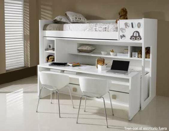 Litera con escritorio 63 litera lacada 2 camas y - Camas con escritorio ...