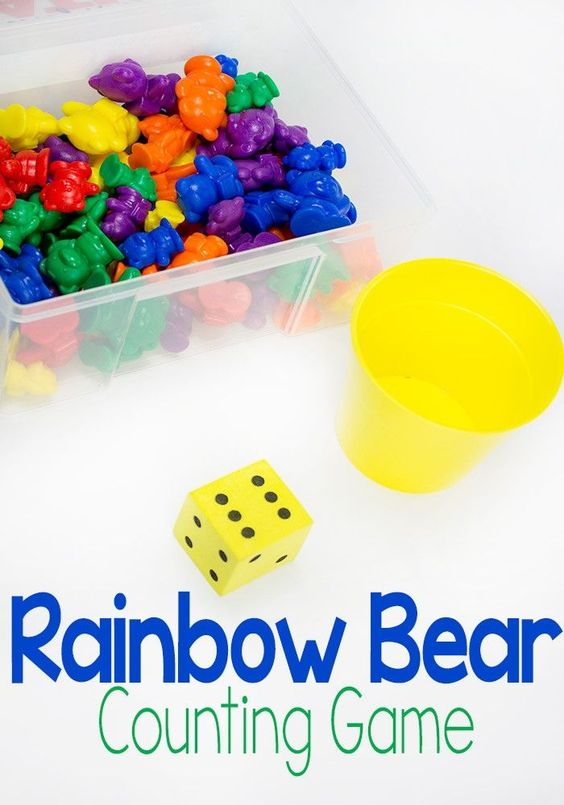 the rainbow bear dice game for preschoolers is so simple to put