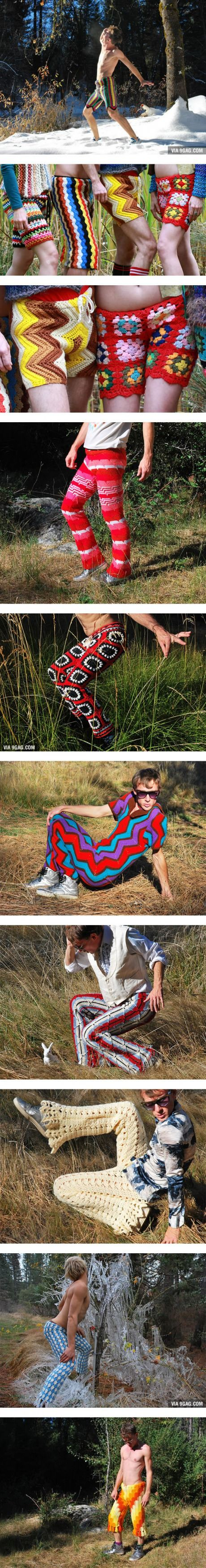 New Fashion For Men: Crochet Shorts Made From Recycled Vintage Blankets
