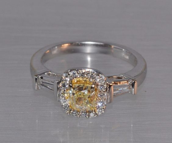 Details about 18K WG Natural Canary Certified .75 CT Diamond Halo ...