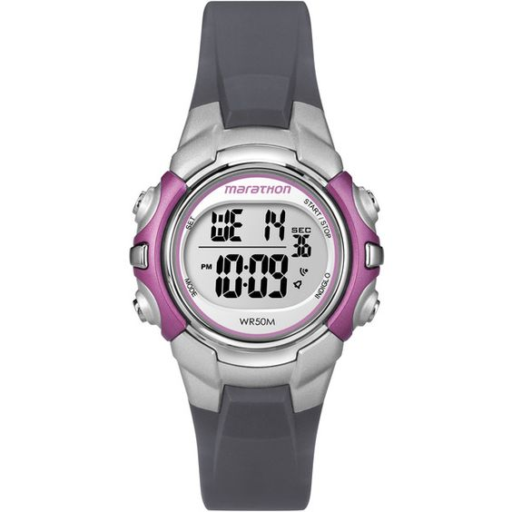 Timex T5K646M6 Women's Marathon Digital Mid-size Grey and Pink Watch ($19) ❤ liked on Polyvore featuring jewelry, watches, grey, leather-strap watches, timex watches, grey jewelry, pink digital watches and digital watches