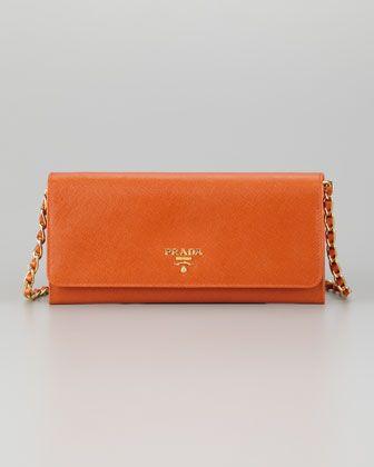prada men handbags - Prada Saffiano Wallet on a Chain, Papaya - Neiman Marcus ...