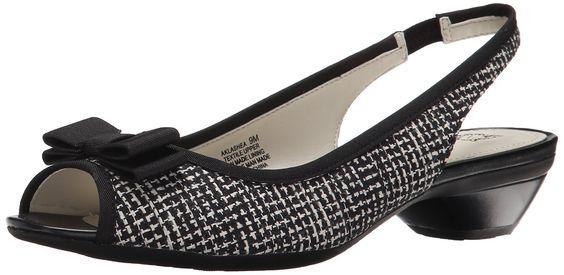Amazon.com: Anne Klein Women's Lashea Fabric Wedge Pump, Black Tweed, 8.5 M US: Clothing