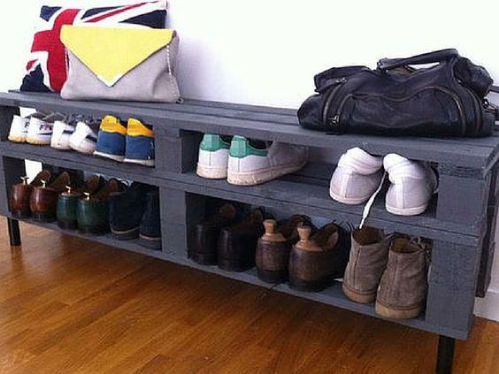 Rangement chaussures prix mini ou faire soi m me rangements et organisation pinterest - Meuble en palette facile ...