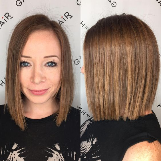 Blunt Bronze Shoulder Length Bob With Textured Ends And Side Part The Latest Hairstyles For Men And Women 2020 Hairstyleology Bob Hairstyles Long Bob Hairstyles Wavy Bob Hairstyles