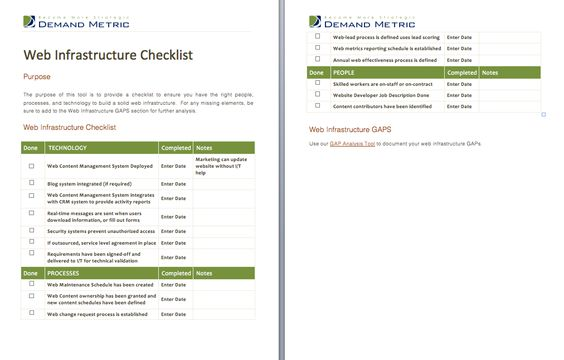 Web Infrastructure Checklist - A checklist to ensure the right - sales call report template