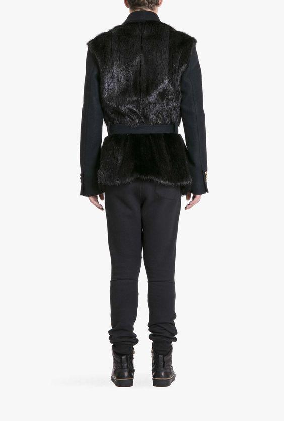 Wool and fur shawl collar coat | Mens fur coats | Balmain