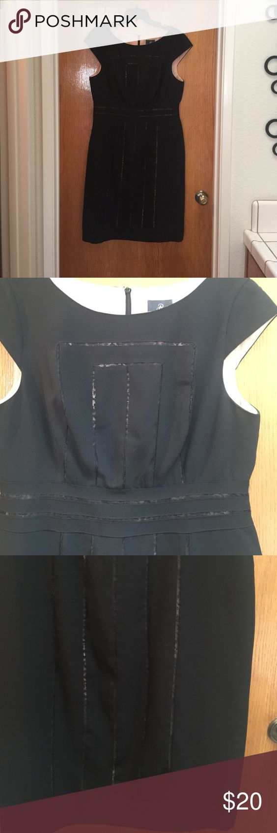 Little Black Dress Black dress with lace insets, never worn no tags, Size 14 knee length Adrianna Papell Dresses Midi