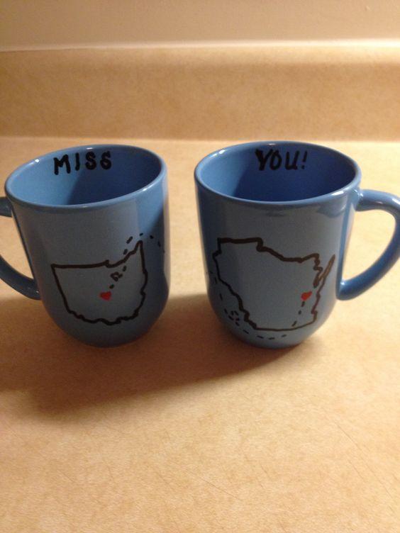 Miss you coffee mugs thank u Pinterest for the idea