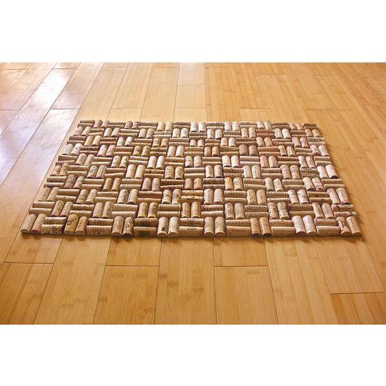 tapis de bain upcycled bouchons en li ge avec mod le d. Black Bedroom Furniture Sets. Home Design Ideas