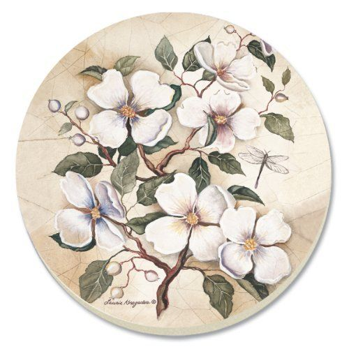 CounterArt Dogwood Absorbent Coasters, Set of 4 by Counter Art. $8.83. Holders available; look for counterart wood coaster holds ( sold separately). Coasters are natural stoneware with decorative transfer print. Each coaster has a durable cork backing to protect countertops and furniture. To remove stains, soak coaster in 1 part household bleach and 3 parts water until stain lifts, then rinse and air dry. Set of 4 absorbent coasters with attractive design marries ar...: