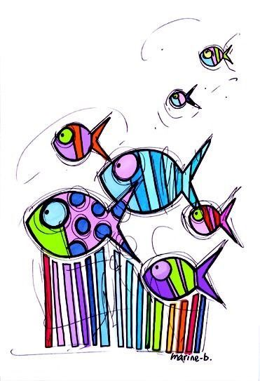 Pesci multicolor  ...illustrazione