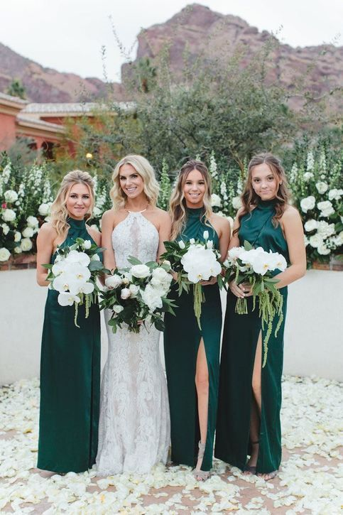 teal green halter bridesmaid dresses