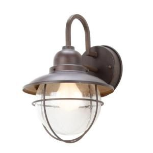 Cottage Bathroom Wall Lights : Hampton Bay 1-Light Brushed Nickel Outdoor Cottage Lantern Decks, Front porches and Vanities