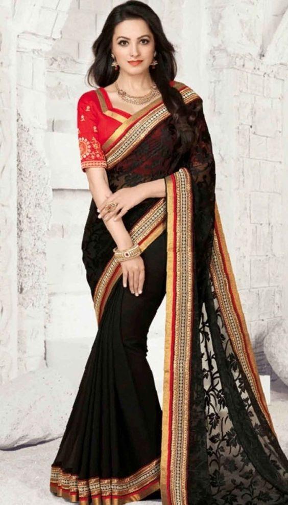 Anita Hassanandani in a beautiful black saree by Brijraj