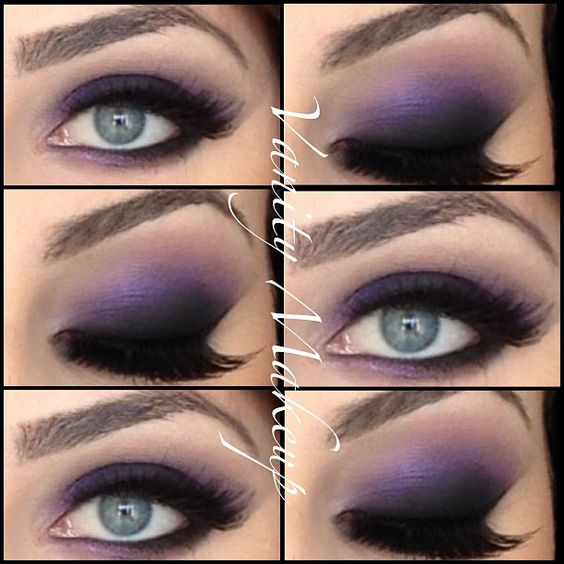 Dark purple smokey eye on Gorgeous blue eyes