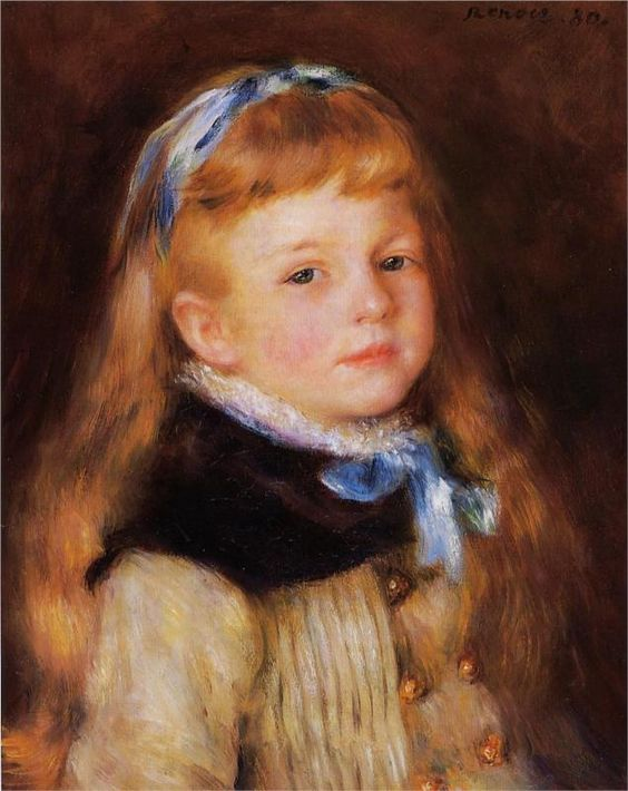 Pierre-Auguste Renoir (French 1841–1919) [Impressionism] Mademoiselle Grimprel in a Blue Ribbon, 1880. Private Collection.