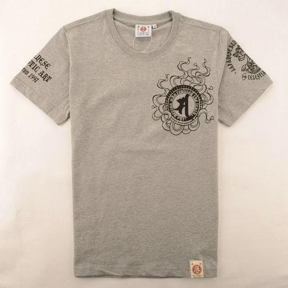 日本潮T 2014年新款 爆裂爛漫娘雲彩 時尚印花純棉短袖T恤 男款 822灰色