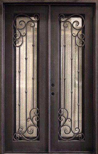62 X 97 Athenian Iron Prehung Double Door Unit Iron Doors
