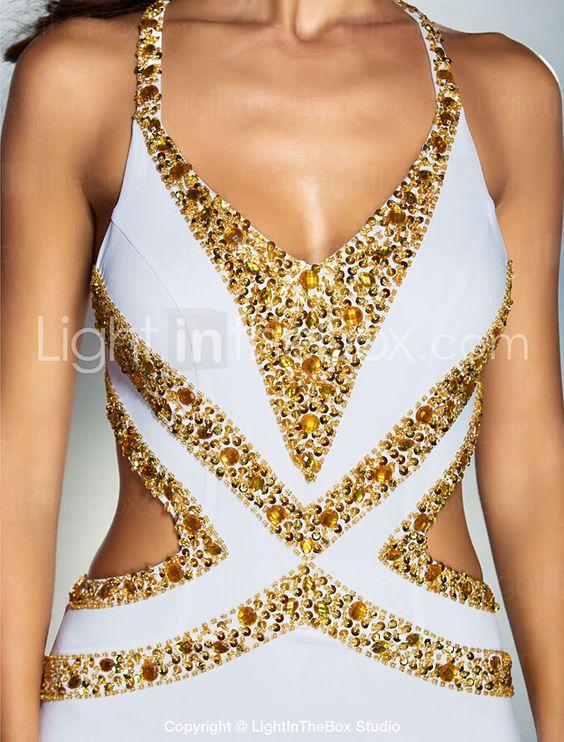 Evento Formal Vestido - Espalda Bonita Trompeta / Sirena Cuello en V Larga Jersey con Cuentas / Detalles de Cristal 2016 - $2804.81
