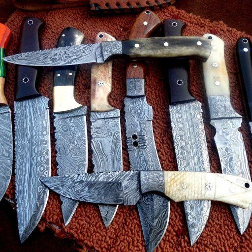 Custom Hand Made Damascus Lot Of 10 Hunting Knives Jn1801 Damascus Steel Knife Damascus Steel Knife