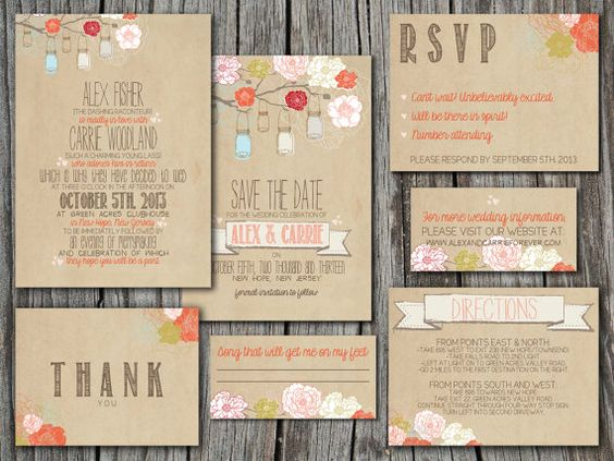 Wedding Invitation Suite Set Printable Custom DIY RUSTIC – Rustic Wedding Invitations Kraft Paper