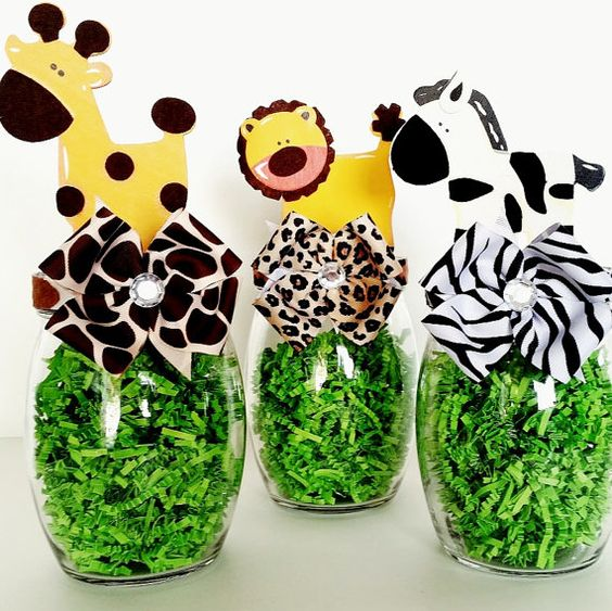 Safari Party Centerpieces, Jungle Animal Table Decorations, Mason Candy Jar, Baby Shower and Birthday Table Decor, Zoo Animal Party Decor