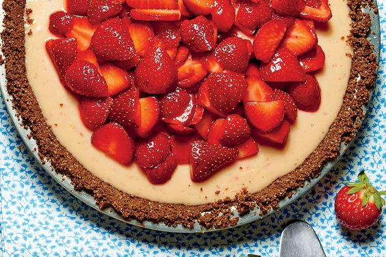 Strawberry-Lemon-Buttermilk Icebox Pie: From the satiny sheen of the filling to the mounds of fresh fruit piled on top, there is much beauty in an icebox pie, but none more than its sheer simplicity.