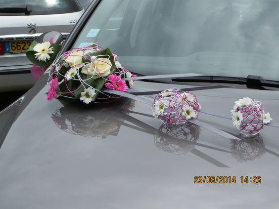 Déco fleur voiture  Mariage fushia gris  Pinterest