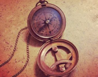 SALE : Vintage Style Sundial Compass Necklace Nautical Antique Brass, Glass, Charm & Chain