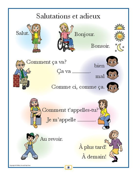 French Set of 4 Posters with Everyday Phrases – French Greetings Worksheet