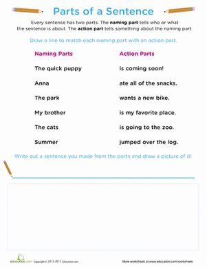 beginning grammar parts of a sentence free printables the o 39 jays and writing sentences. Black Bedroom Furniture Sets. Home Design Ideas