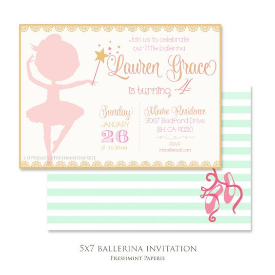 Invitations imprimable - ballerine invitation - Invitation ballet - calligraphie - tutu - filles anniversaire invitation - freshmint paperie